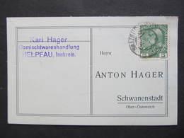 KARTE Helpfau - Schwanenstadt 1914 Anton Hager Zugstempel Bahnpost Salzburg Wien   ///  D*36735 - 1850-1918 Imperium
