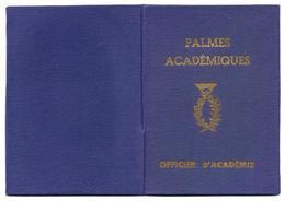 """Palmes Académiques """"Carte D'Officier D'Académie"""" - Old Paper"""