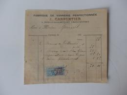 Facture De La Fabrique De Vannerie Perfectionnée J. Carpentier à Epinay-sous-Sénart (91). - France