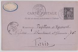 Corbigny Nièvre Pastille Lemoine Rousseau Entier Postal 16.02.1879 Papillon Herment Papetiers Bd Saint-Germain Paris - Postal Stamped Stationery