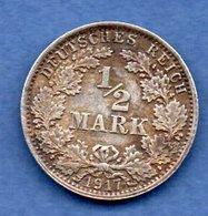 Allemagne -  1/2 Mark 1917 A  -  état  TTB + - [ 2] 1871-1918 : Empire Allemand