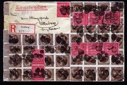 A5904) DR Infla R-Dienstbrief Perleberg 31.08.23 N. Wittenberge M. 102 Marken - Deutschland