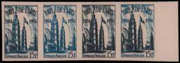 FRANCE Essais  975 Bande De 4 Essais En Bleu Et Bleu-gris, Bdf: Cinquantenaire De La Foire De Paris - Ensayos