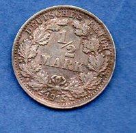 Allemagne -  1/2 Mark 1915 F  -  état  TTB+ - [ 2] 1871-1918 : Empire Allemand