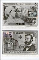!!! ALGERIE PAIRE CARTES MAXIMUM CROIX ROUGE 1954 - Algérie (1924-1962)