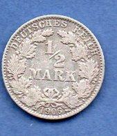 Allemagne -  1/2 Mark 1906 D -  état   TB+ - [ 2] 1871-1918 : Empire Allemand