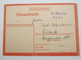 1945 , Eilnachrichtenkarte Aus Hamburg , Späte Post - Deutschland