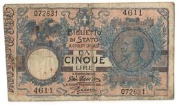 Italy 5 Lire 29/07/1918 - [ 1] …-1946 : Kingdom