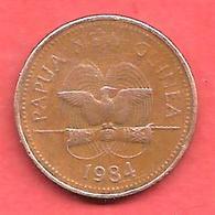 1 Toea , PAPOUASIE NOUVELLE GUINEE , Bronze , 1984 , N° KM # 1 - Papouasie-Nouvelle-Guinée