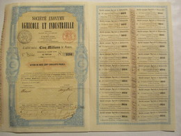 Société Anonyme Agricole Et Industrielle - Action De 250 Francs De 1857 - Landbouw