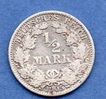 Allemagne -  1/2 Mark 1905 A -  état   TB+ - [ 2] 1871-1918 : Empire Allemand