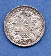Allemagne -  1/2 Mark 1918 F -  état   SUP - [ 2] 1871-1918 : Empire Allemand