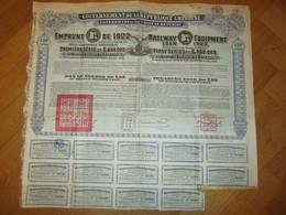 Gouvernement De La République Chinoise - Emprunt De 1922 - Railway Equipment - Asien