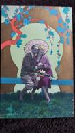 CPA COULPE AMOUREUX OMBRELLE DECOR ART NOUVEAU ART DECO JAPONISANT - Couples