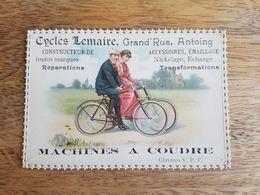 """Ancien Chromos Publicitaire """"Cycles Lemaire Antoing - Machines à Coudre"""" - Autres"""