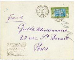 COTE D'IVOIRE ENV 1935 OUAGADOUGOU + PROPAGANDE OLEAGINEUX CACAO CAFE BOIS PRECIEUX LETTRE => FRANCE - Lettres & Documents