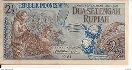 INDONESIE 2 1/2 RUPIAH 1961 AUNC P 79 - Indonésie
