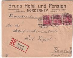 ALLEMAGNE 1921 LETTRE RECOMMANDEE DE NORDERNEY AVEC CACHET ARRIVEE HAMBURG - Allemagne
