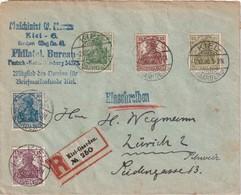 ALLEMAGNE 1920 LETTRE RECOMMANDEE DE KIEL-GAARDEN  AVEC CACHET ARRIVEE ZURICH - Allemagne