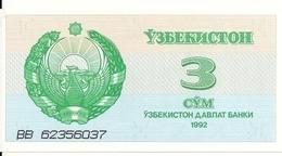 OUZBEKISTAN 3 SUM 1992 UNC P 62 - Uzbekistan