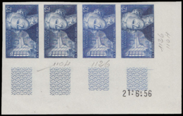 FRANCE Essais  1081 Bande De 4 Essais En Bleu Bicolore, Coin Daté 21/6/56: A.A. Parmentier, Pharmacien Militaire - Ensayos