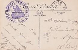 CACHET  HOPITAL  TEMPORAIRE N°  52  D AVON     SUR CP DE FONTAINEBLEAU - Guerre 1914-18