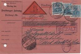 ALLEMAGNE 1921 CARTE CONTRE REMBOURSEMENT/NACHNAHME DE FREIBURG  PERFORE/PERFIN - Allemagne