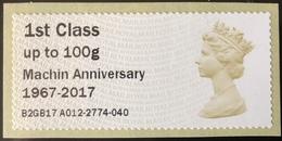 GB Post & Go - Machin Anniversary 1967 - 2017 Overprint - 1st Class / 100g - MA14 Date Code MNH - Great Britain