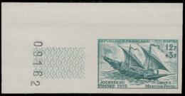 FRANCE Essais  1093 Essai En Bleu, Cdf Numéroté: Journée Du Timbre 1957, Voilier Postal - Proofs