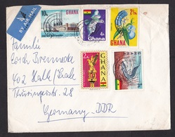 Ghana: Airmail Cover To East Germany, 5 Stamps, Flower, Bird, Fish, Harbour (damaged!) - Ghana (1957-...)