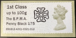 GB Post & Go - BPMA Penny Black 175 Overprint - 1st Class / 100g - MA13 Date Code MNH - Great Britain