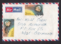 Ghana: Airmail Cover To Germany, 1980, 4 Stamps, Pioneer Venus Space Project, Corn, Food (discolouring) - Ghana (1957-...)