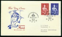 FD Norwegen FDC 1969   MiNr 598-599   100. Geburtstag Von Königin Maud - FDC