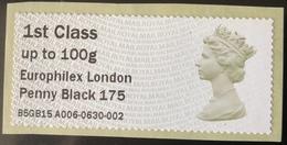 GB Post & Go - Europhilex Penny Black 175 Overprint - 1st Class / 100g - MA13 Date Code MNH - Great Britain