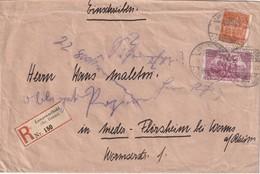 ALLEMAGNE 1922 LETTRE RECOMMANDEE DE LAGENSELBOLD AVEC CACHET ARRIVEE NIEDERFLÖRSHEIM - Allemagne
