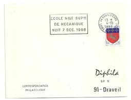 LOIRE ATLANTIQUE - Dépt N° 44 = NANTES GARE 1968 = FLAMME SUPERBE =  SECAP  ' NUIT / ECOLE SUP MECANIQUE' - Marcophilie (Lettres)