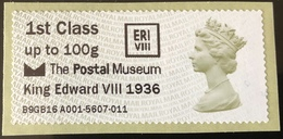 GB Post & Go - Postal Museum King Edward VIII 1936 Overprint - 1st Class / 100g - MNH - Great Britain