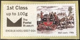 GB Post & Go - Mail Coach - Postal Museum Overprint - 1st Class / 100g - MA16 Date Code MNH - Grande-Bretagne