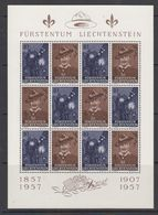 Liechtenstein 1957 Scouting 2v In Sheetlet (shtlt Is 1x Folded, Stamps Are OK) ** Mnh (41877) - Liechtenstein