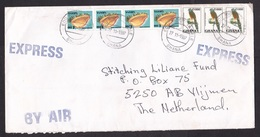 Ghana: Airmail Express Cover To Netherlands, 1997, 7 Stamps, Sea Shell, Bird (discolouring) - Ghana (1957-...)