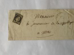 Let 20c Noir Oblit Boulay Oct 1849 (timbre Non Touché) - 1849-1850 Ceres