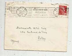 Lettre, 1948 , PARIS VII  , Flamme : Aidez L'entr'aide Française à Vaincre La Misère , 2 Scans - Marcophilie (Lettres)