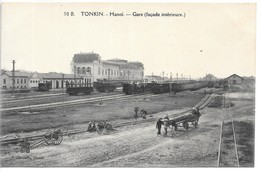 Cpa...Viet-Nam...Indo-Chine...Tonkin...HANOI ..gare..(facade Intérieure)...animée..1917.. - Viêt-Nam