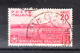 Italia   - 1936. Bimillenario Oraziano. 20 C. Viaggiato, Timbro Lusso - 1900-44 Vittorio Emanuele III