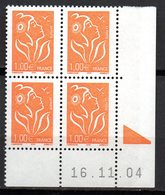 Col12 France Coin Daté Marianne Lamouche  N° 3739 / 3721  Neuf XX MNH Luxe - Dated Corners