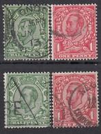 GB 1912 - MiNr: 123-124 Mit Wz 12 + 125-126 Mit Wz 13  Used - 1902-1951 (Könige)
