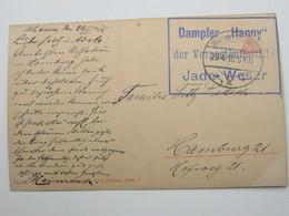 1915 , DAMPFER HANNY Der Vorpostenflottille  JADE WESER, Klarer Stempel Auf Feldpostkarte - Deutschland