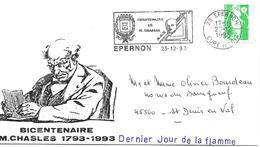 28 - EPERNON  23-12-93 - Bicentenaire De M. CHASLES, Flamme Dernier Jour - Marcophilie (Lettres)
