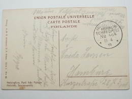 1918 , MSP No. 46a ,  Klarer Stempel Auf Feldpostkarte Aus Finnland , SMS Cassel - Deutschland