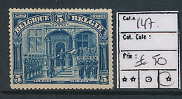 BELGIQUE COB 147 FRANKEN LH - 1915-1920 Albert I